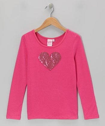 Pink Sequin Heart Top - Girls