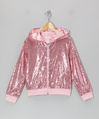 Pink Sequin Zip-Up Hoodie - Girls