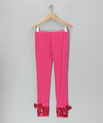 Fuchsia Sequin Bow Leggings