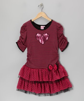 Fuchsia & Black Stripe Tiered Ruffle Dress - Girls