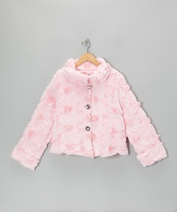 Pink Faux Fur Button-Up Coat - Girls