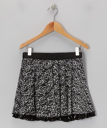 Black & Gray Leopard Ruffle Skirt - Girls