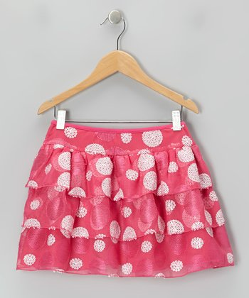 Pink & White Polka Dot Tiered Ruffle Skirt - Girls