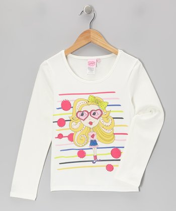 White & Pink Girly Gal Tee - Girls
