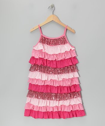 Pink Sequin Tiered Ruffle Dress - Girls