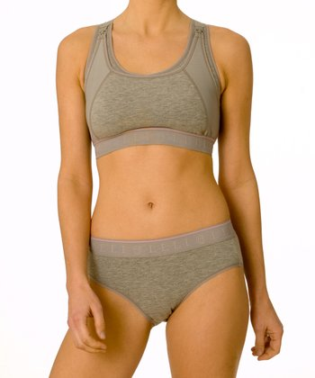Gray Wireless Nursing Sports Bra - Women & Plus