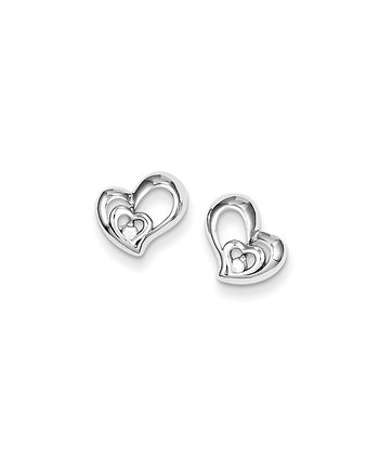 Sterling Silver Double Heart Earrings