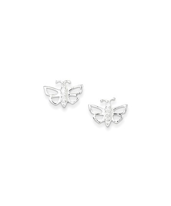 Sterling Silver Cutout Butterfly Earrings