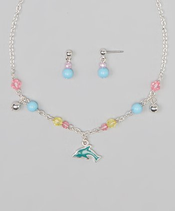 Pink & Blue Dolphin Pendant Necklace & Earrings
