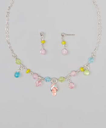 Sterling Silver & Pink Flip-Flop Pendant Necklace & Earrings