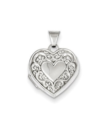 Sterling Silver Etched Heart Locket