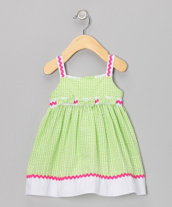 Lime Rickrack Seersucker Dress - Infant