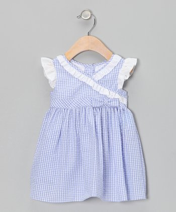 Lilac Gingham Seersucker Surplice Dress - Infant