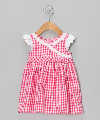 Red Gingham Seersucker Surplice Dress - Infant