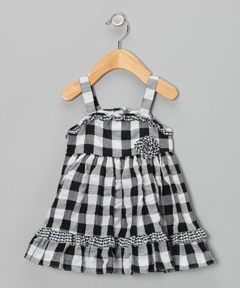 Black Plaid Seersucker Dress - Infant