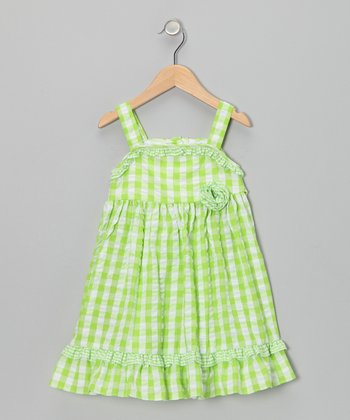 Lime Gingham Seersucker Dress - Infant & Toddler