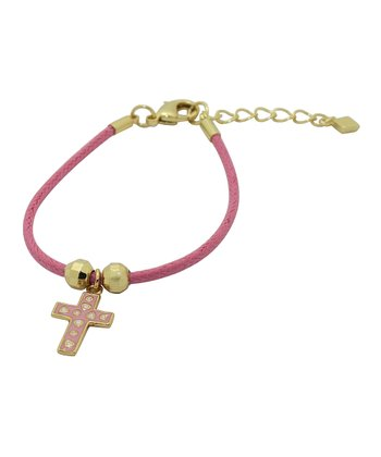 Pink & Gold Cross Cord Bracelet