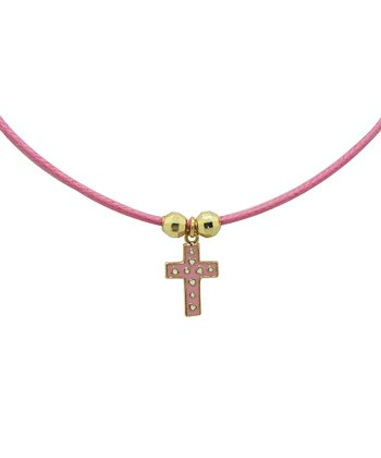 Pink & Gold Cross Cord Necklace