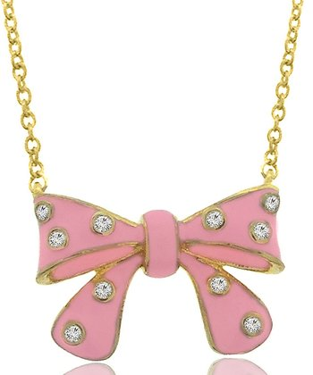 Pink Rhinestone Bow Necklace