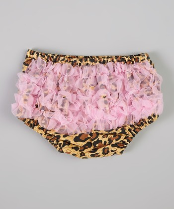 Pink & Brown Leopard Ruffle Diaper Cover