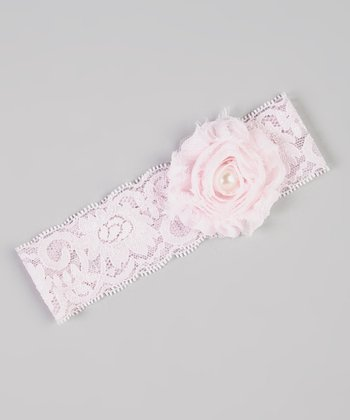 Pink Pearl Flower Lace Headband