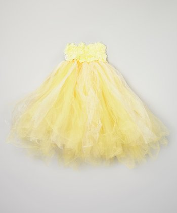 Light Yellow Rosette Strapless Tutu Dress - Infant & Toddler