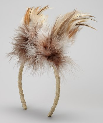 Brown & Ivory Owl Feather Headband