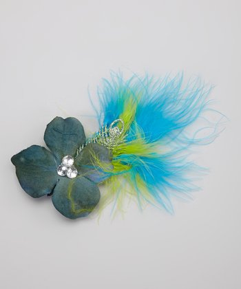 Blue & Green Feather Flower Clip