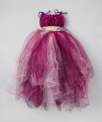 Berry & Purple Tulle Dress & Sash - Infant, Toddler & Girls