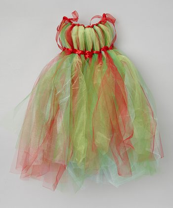 Red & Green Tulle Dress - Infant, Toddler & Girls