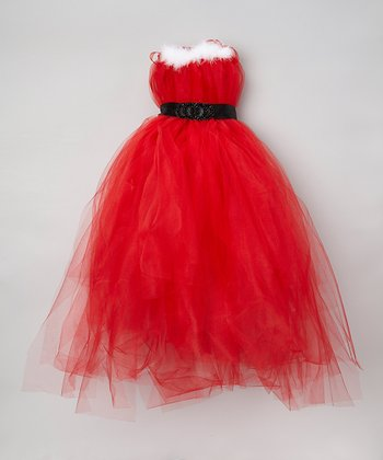 Red Santa Tulle Dress & Sash - Toddler & Girls
