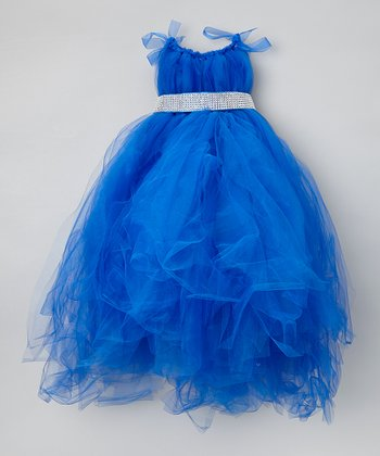 Blue Tulle Dress & Sash - Infant, Toddler & Girls