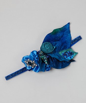 Blue Glitter Rose Headband