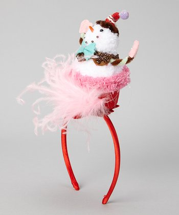 Red & White Snowman Cupcake Headband