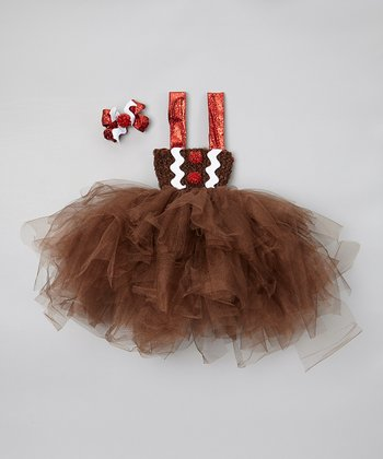 Brown Gingerbread Tulle Dress & Bow Clip