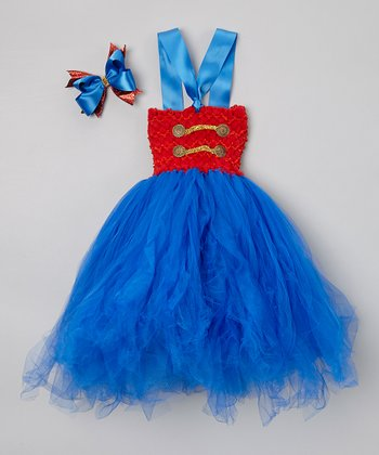 Blue & Red Soldier Tulle Dress & Bow Clip - Infant & Toddler