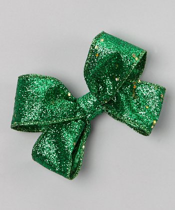 Green Sparkle Bow Clip