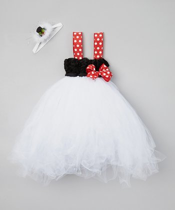 Red & White Polka Dot Tulle Dress & Headband - Infant & Toddler