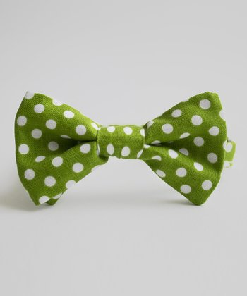 Green & White Polka Dot Porter Bow Tie