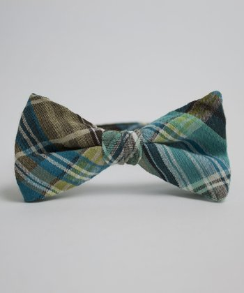 Blue & Brown Plaid Leo Bow Tie