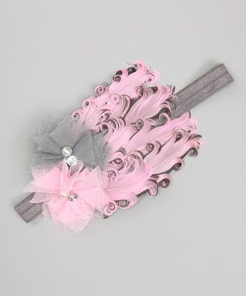 Silver & Pink Feather Pad Headband