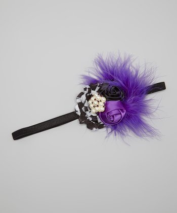Purple & Black Houndstooth Flower Headband