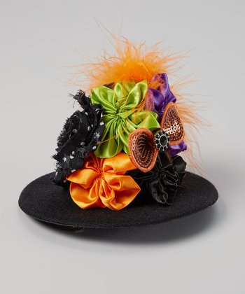 Orange & Black Feather Witch Hat Clip