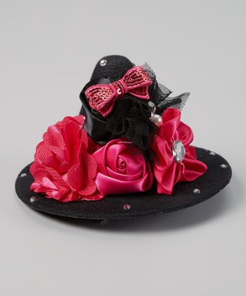 Black & Fuchsia Rhinestone Witch Hat Clip