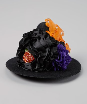Black & Purple Pumpkin Feather Witch Hat Clip