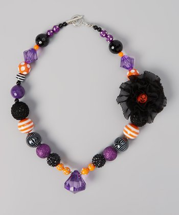 Purple & Black Pumpkin Necklace