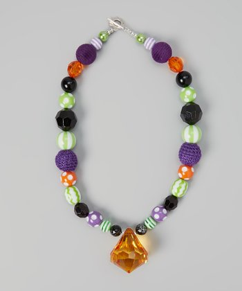 Purple & Green Bead Necklace