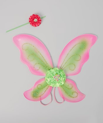Pink & Lime Glitter Headband & Wings