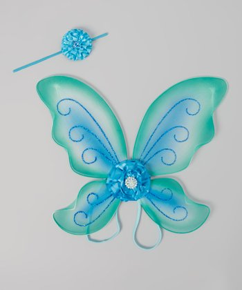 Turquoise & Blue Glitter Headband & Wings