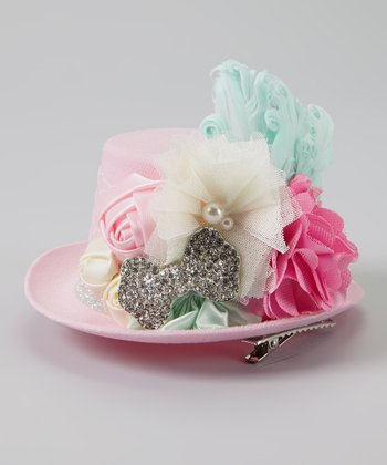 Mint & Pink Feather Top Hat Clip